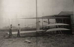 Wright Bros. building their airplane
