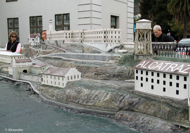 Jet researching for the Alcatraz scene, at a scaled model of Alcatraz Island in SF at Pier 33.